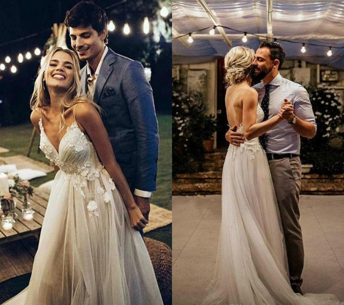 Romantic Bohemian Boho Spaghetti Straps Wedding Dresses Garden Spring Applique