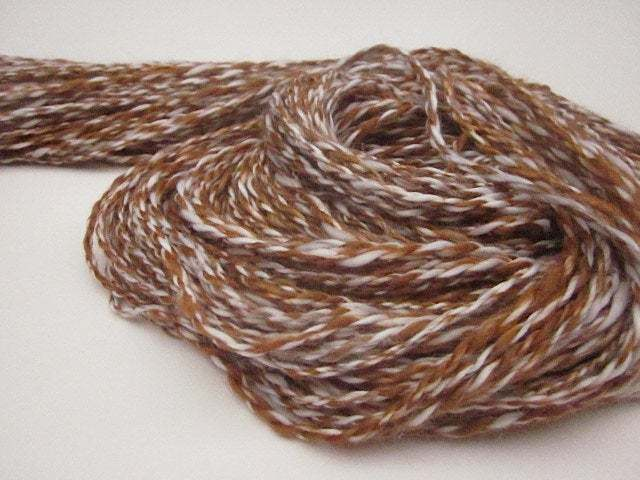 Handspun Double-Ply Marled Copper and White Vegan Bamboo Yarn
