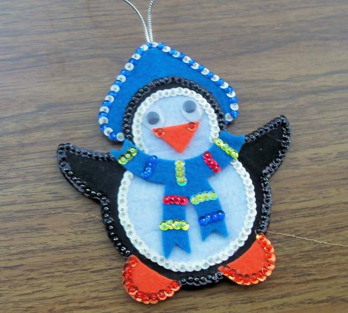 Penguin Christmas Ornament Made of Felt