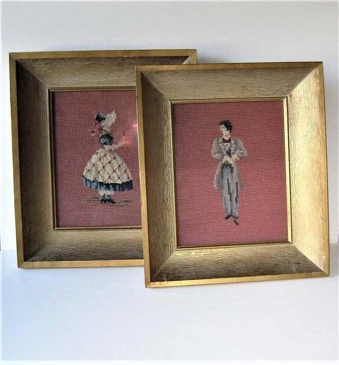"""2 framed vintage framed needlepoint figures,  12"""" x 14"""", shadowbox frames, hand"""