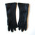 Vintage Long Woman's Leather Gloves, Blue Black, size 6 1/2, circa 1960s, 10