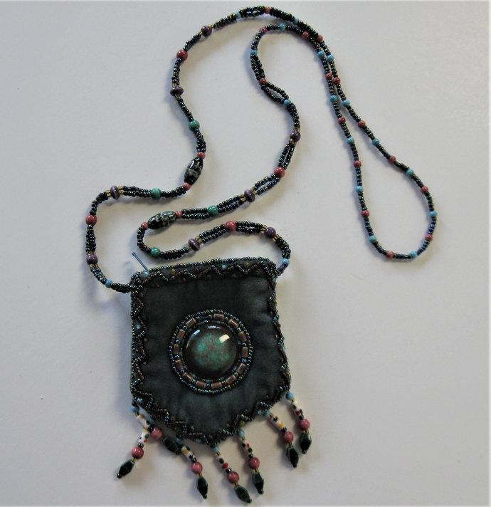 "Vintage beaded velvet shoulder purse, beaded bag, 3 1/2"" x 3 3/4"",  purse, ID"