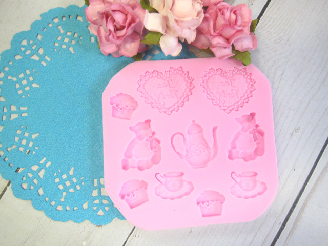 Mold Tea Party with Teddy Bear Silicone mold Soft Silicone Fondant Mat Cake