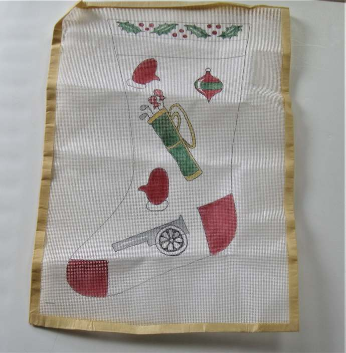"""Vintage hand painted Christmas stocking needlepoint canvas, 16"""" long, golf,"""