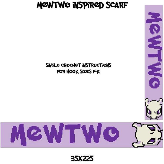 Mewtwo Scarf Crochet Graph Pattern