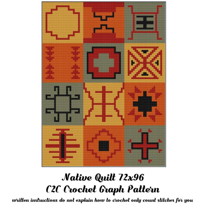 Native Quilt Blanket Crochet Graph Pattern
