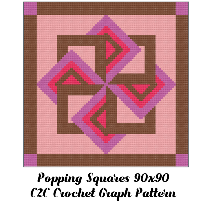 Popping Squares Blanket Crochet Graph Pattern