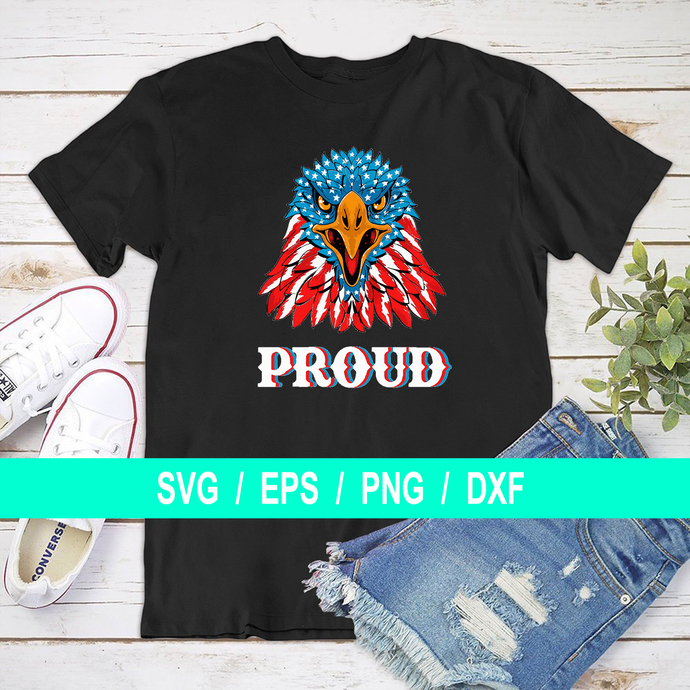 SVG - USA Proud - Eagle - Patriotic - Military - Red White Blue - With Eagle -
