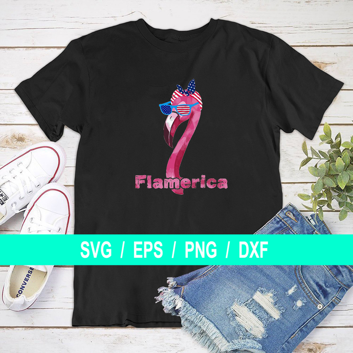Flamerica Red, White and Blue Flamingo svg, eps, dxf, png, pdf file, Silhouette,