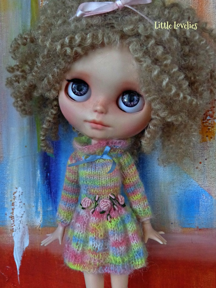 BLYTHE or Pullip DOLL Dress - OOAK -   - Millie - fluffy mohair with dimensional