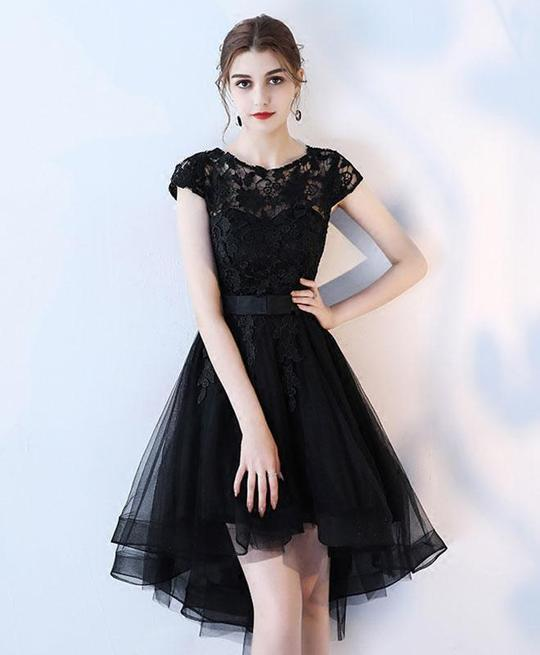 Black Tulle Lace High Low Party Dress, Lovely Tulle Dress 2019