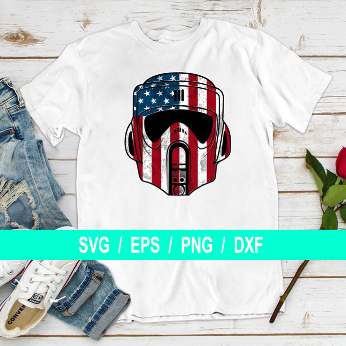 Robot Mask Blue White and Red, 4th of July, Independence Day, T-shirt Gifts Svg,