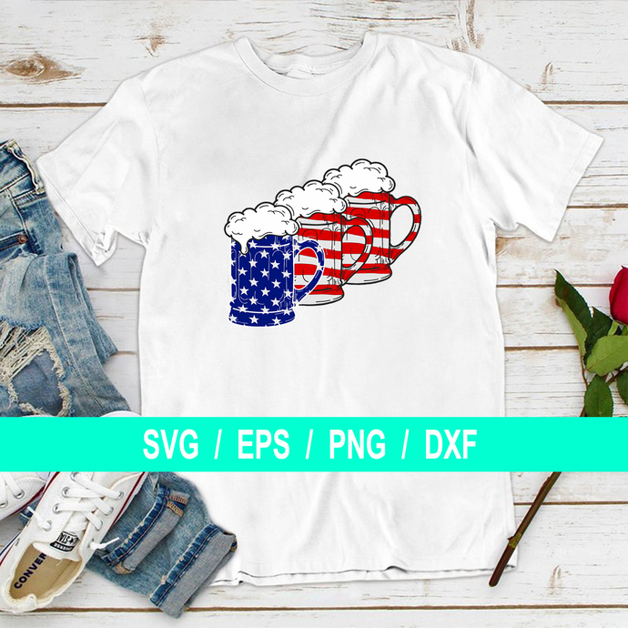 Three Beers Red and blue, 4th of July, Independence Day, T-shirt Gifts Svg, Dxf,