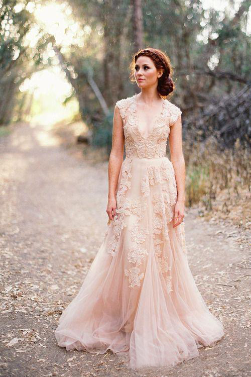 Blush Pink Lace Applique Tulle Sheer Wedding Dresses Summer Beach Cheap Vintage