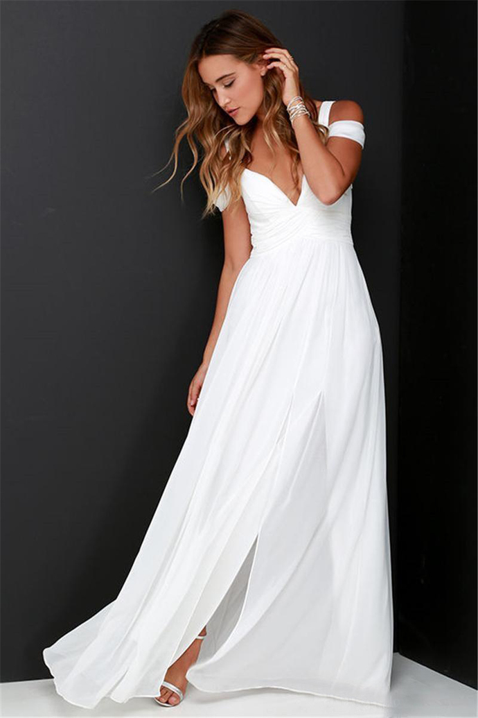 Simple 2019 Side Split Chiffon Lone Beach Wedding Dresses Cheap A Line Off