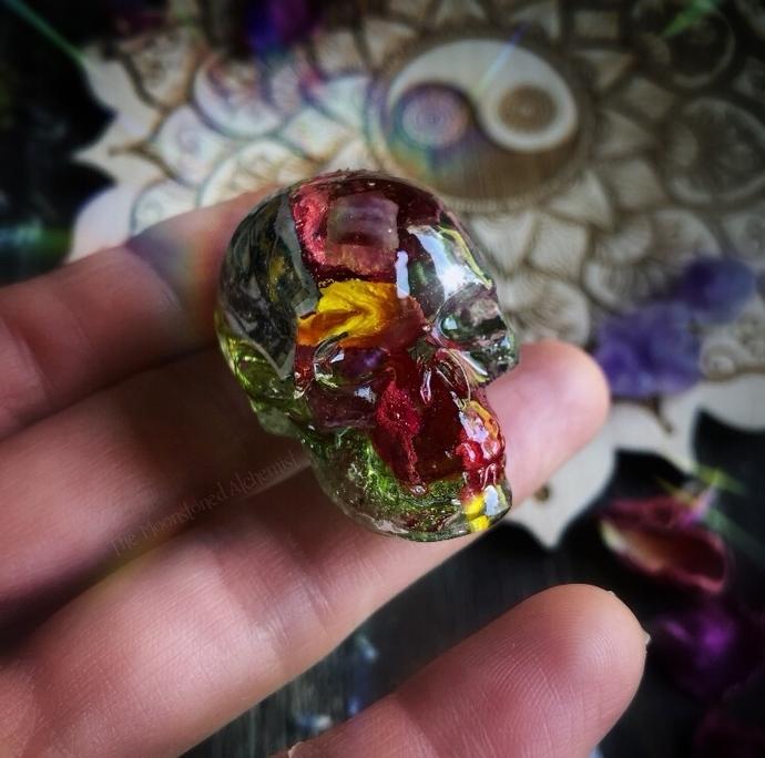 Rose petal Tarot Skullies infused with Watermelon Tourmaline
