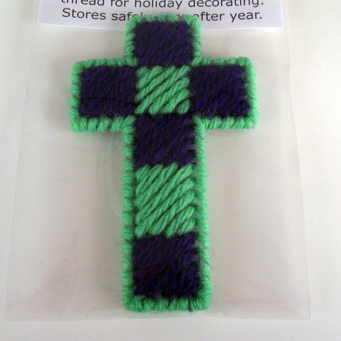 Checkered Cross Green Purple Ornament