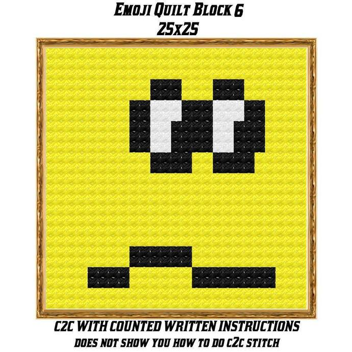 Emoji Quilt Block Crochet Graph Pattern