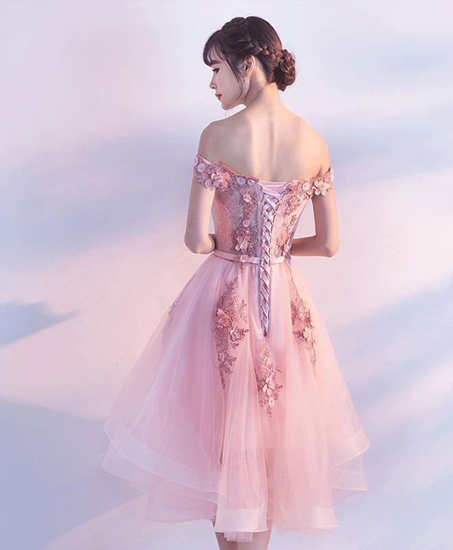 Pink Tulle Lace High Low Party Dress, Lovely Tulle Dress 2019
