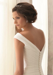 Charming V neck White Tulle Wedding Dress, Elegant Bridal Dresses