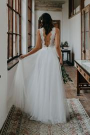 Charming V neck Lace Tulle Beach Wedding Dress, Sexy Bridal Dresses