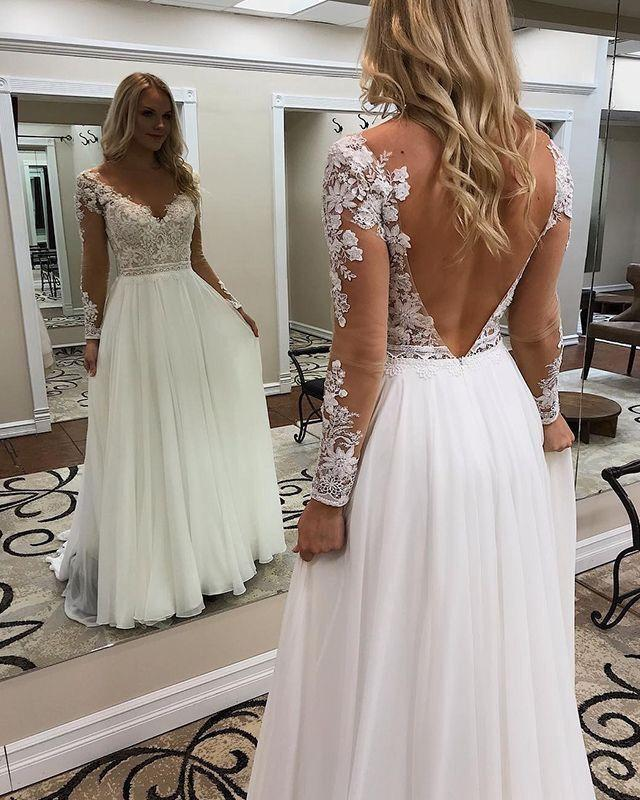 Charming V neck White Open Back Appliques A Line Wedding Dress Bridal Gown