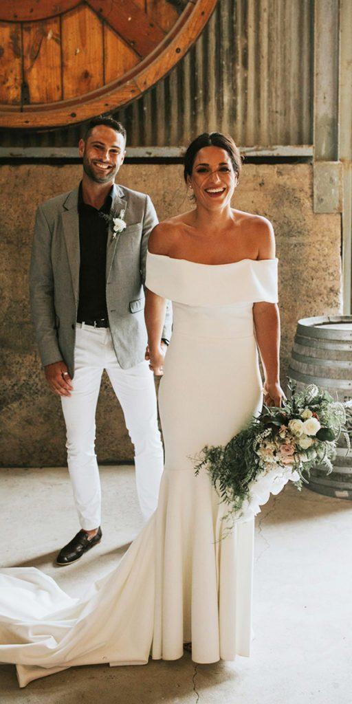 Charming Off Shoulder Mermaid Wedding Dress, Formal Wedding Gown