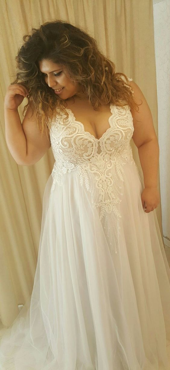 Charming V neck Lace Appliques Wedding Dress, Tulle A Line Prom Dress