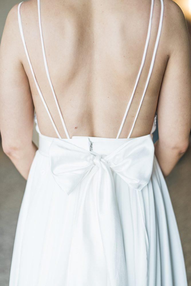 Sexy V neck Open Back White Wedding Dress, Sleeveless Bridal Gown