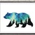 Bear silhouette modern cross stitch pattern, starry night, nature, galaxy,