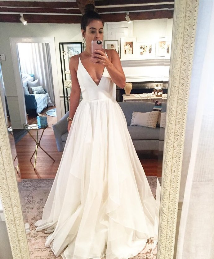 Charming Deep V neck Straps Wedding Dress, Sexy Sleeveless Bridal Dress