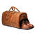 JM024 Leather Travel Bag With Shoes Space, Full Grain Leather Weekender Bag,