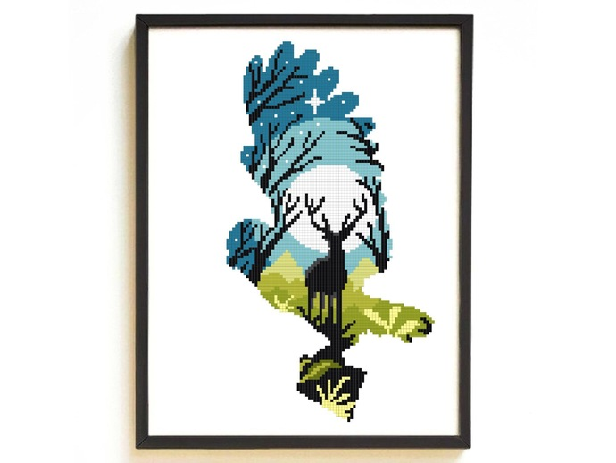 Owl silhouette modern cross stitch pattern, deer, nature, landscape, forest,