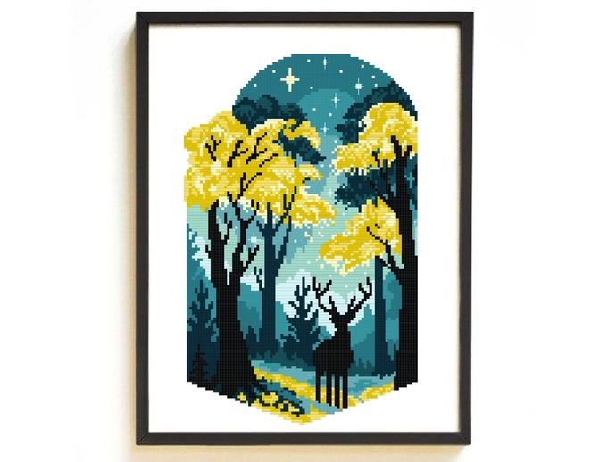 Landscape autum Modern Cross Stitch Pattern, starry night, galaxy, nature