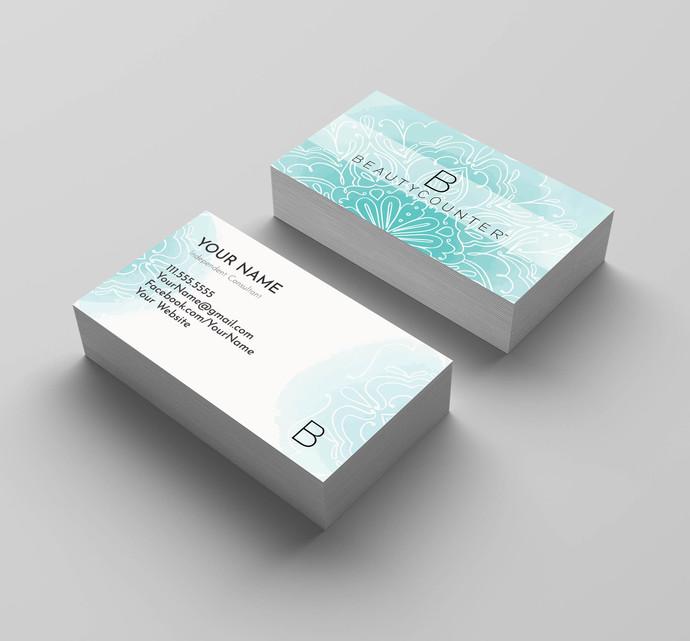 BeautyCounter Business Card Independent Consulantan- D1- Watercolor Mandala