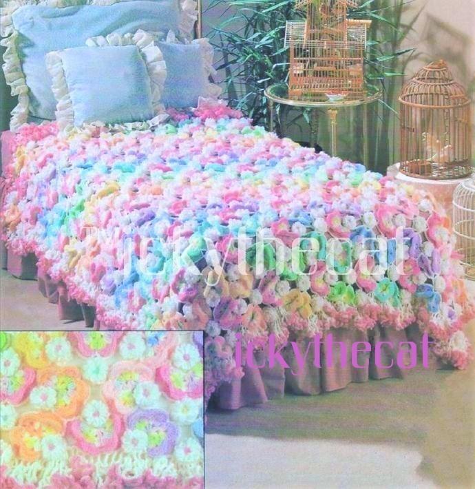 Instant PDF Digital Download Vintage Crochet Pattern Flower & Butterfly Afghan