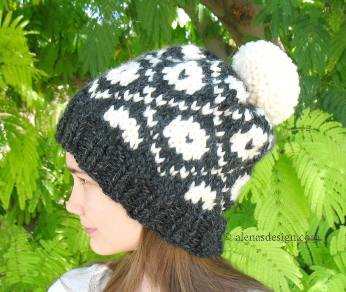 Knitting Pattern 235 Fair Isle Pompom Hat Pom Pom Slouchy Beanie Hat Children