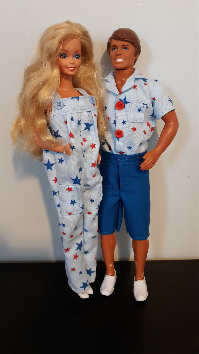 Stars Overall Set for Fashion Doll such as Barbie, includes shoes