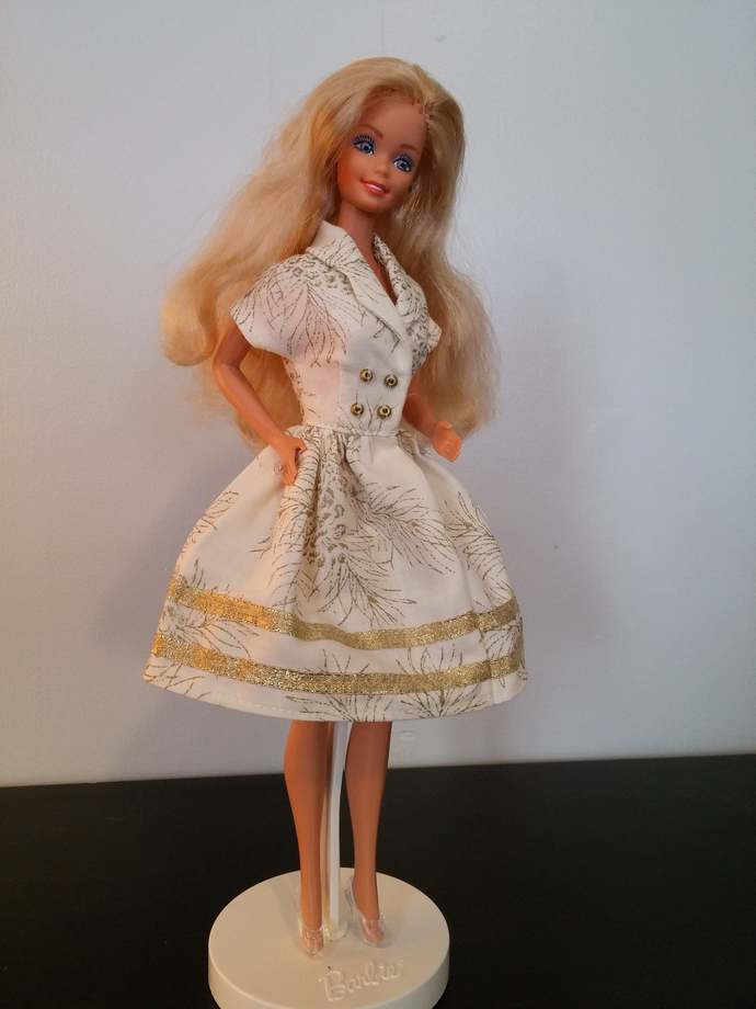 Gold Pinecones Vintage Style Dress for Fashion Doll such as Barbie includes
