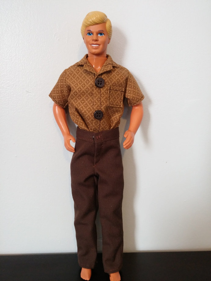 Brown Print Shirt and Brown Pants for Fashion Doll such as Ken