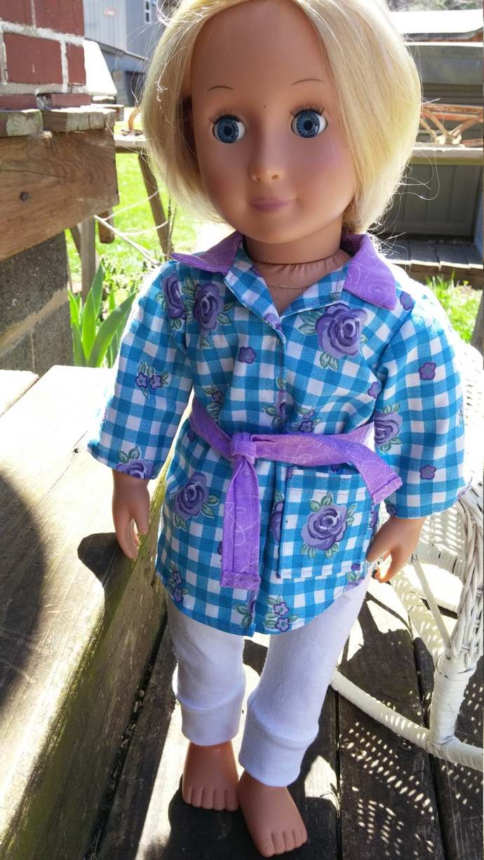 Belted tunic with cuffed leggings for 18 inch doll