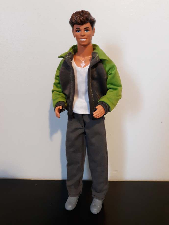 Jacket, shirt, pants, and shoes outfit for fashion doll such as Ken