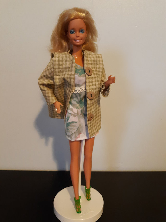 Floral Dress and 80's Coat for Fashion Doll such as Barbie, includes shoes