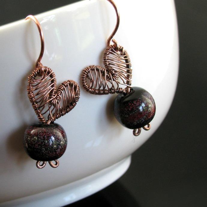 Wire woven heart earrings with lampwork
