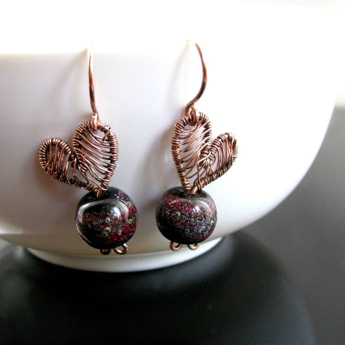 Wire woven heart earrings with lampwork