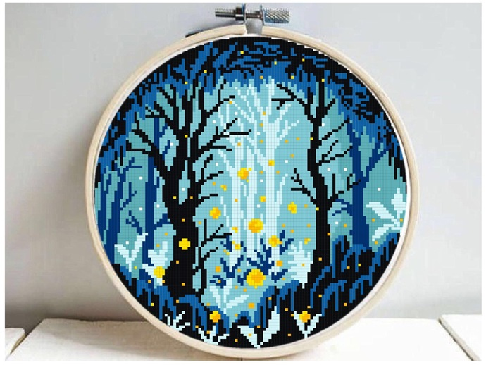 Forest fireflies Modern Cross Stitch Pattern, starry night, nature easy counted