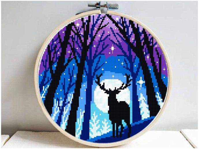 Forest Landscape Modern Cross Stitch Pattern, deer silhouette, animal, starry