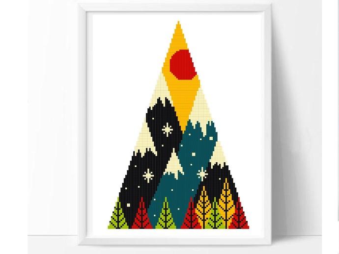 Geometric autumn Modern Cross Stitch Pattern, nature landscape counted cross