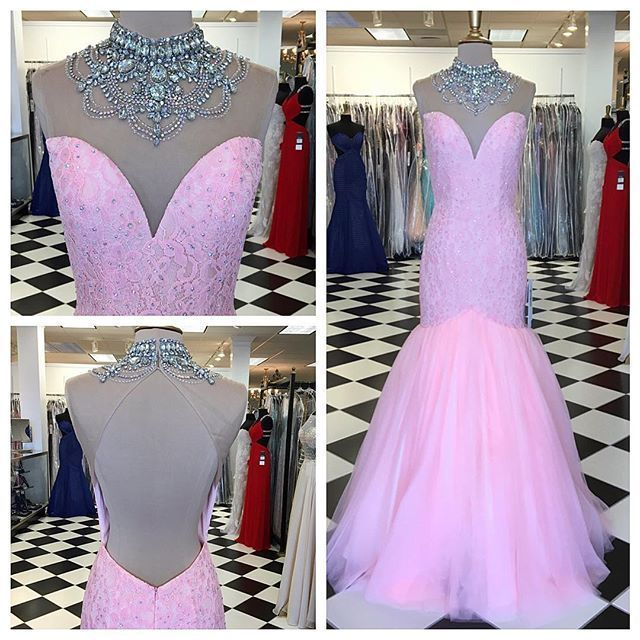 Long Prom Dress,Sexy Prom Dress,Pink Tulle Mermaid Evening Gown,Formal Evening