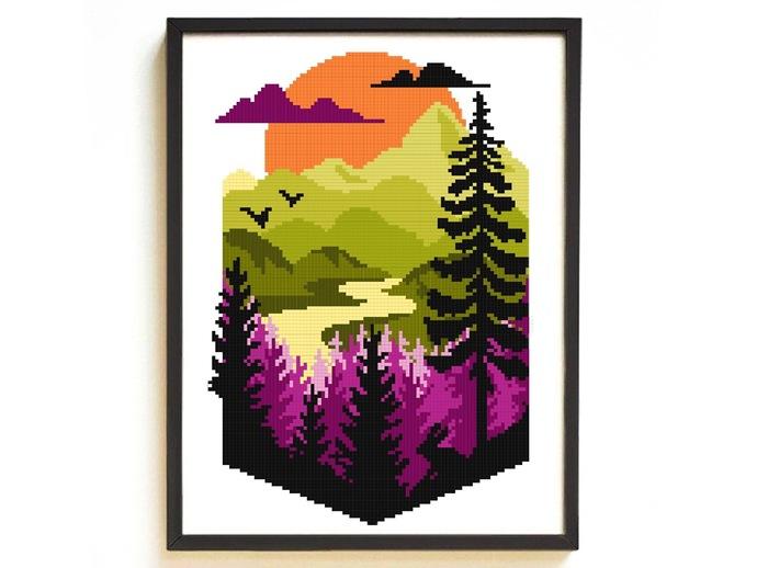 Landscape nature Modern Cross Stitch Pattern, geometric, sunset, counted chart,